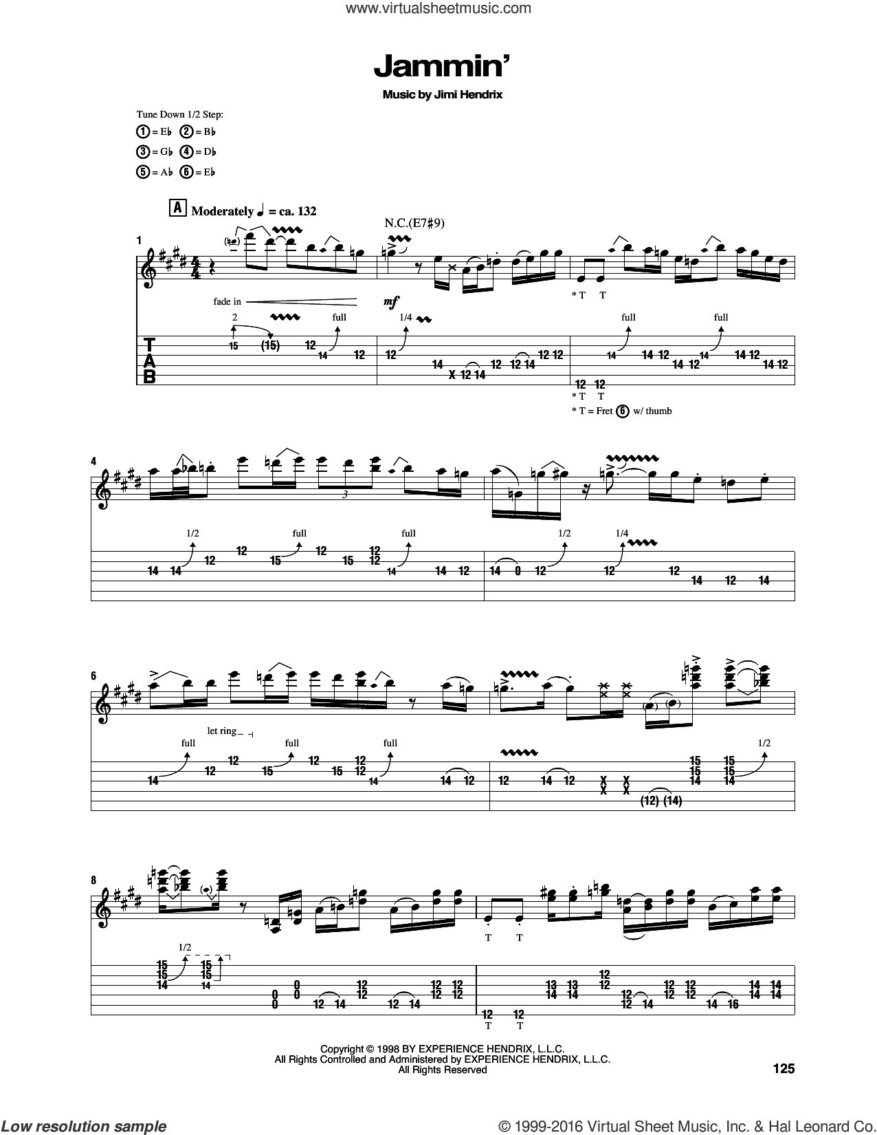 Jammin' sheet music for guitar (tablature) by Jimi Hendrix. Score Image Preview.