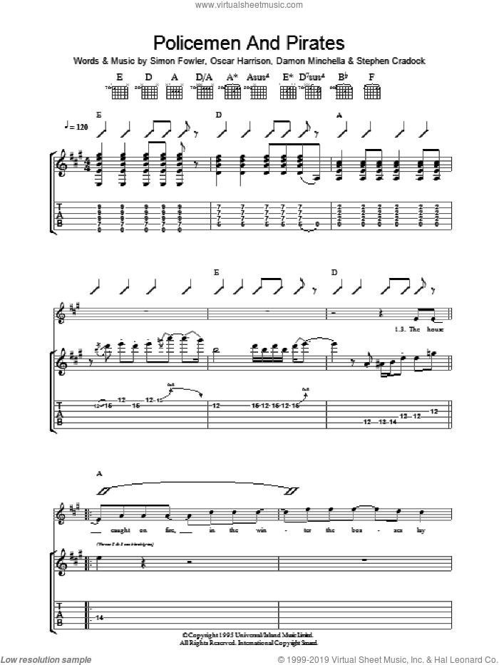 Policemen And Pirates sheet music for guitar (tablature) by Ocean Colour Scene, Damon Minchella, Oscar Harrison, Simon Fowler and Steve Cradock, intermediate skill level