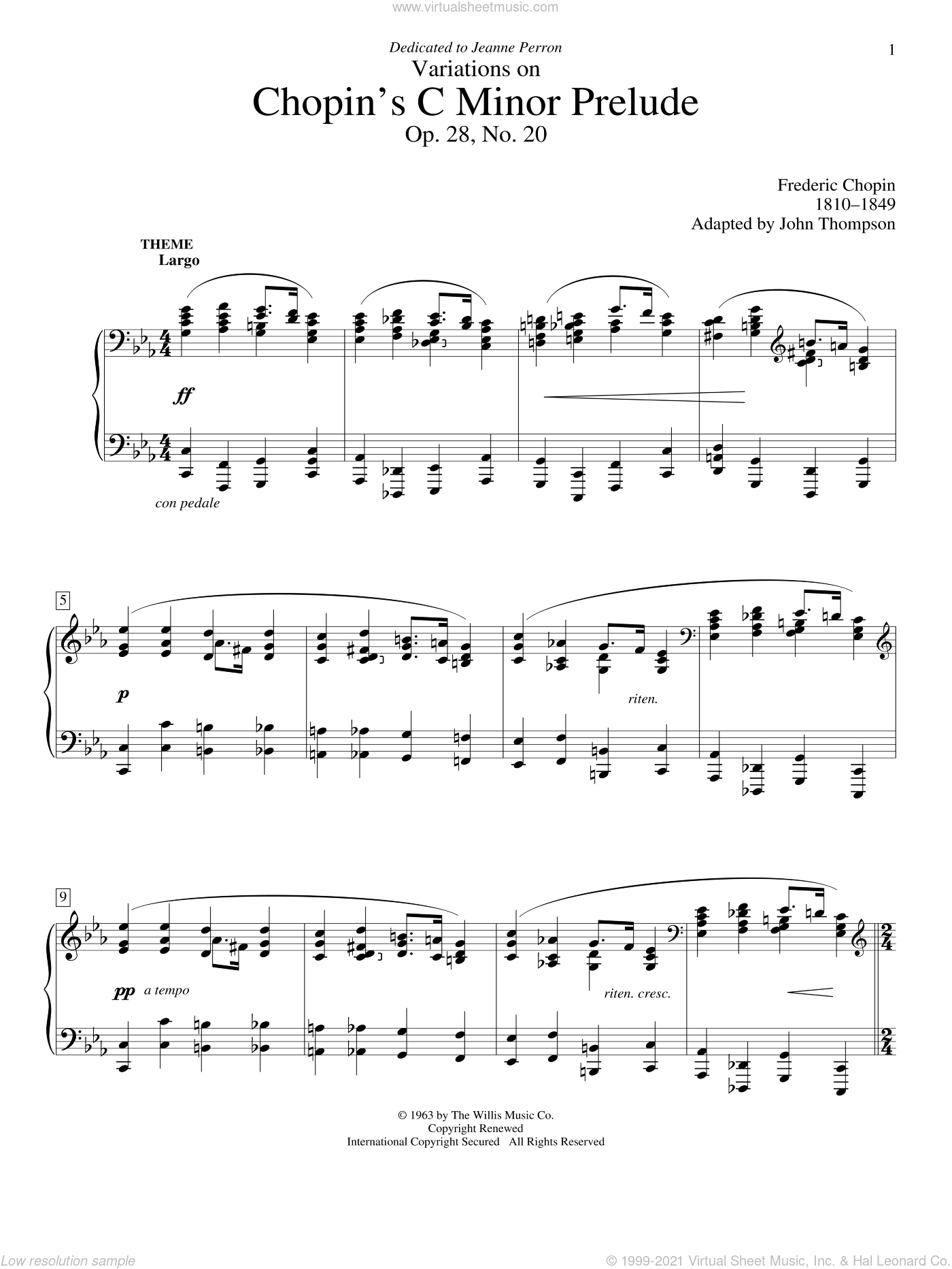 Variations On Chopin's C Minor Prelude sheet music for piano solo (elementary) by Frederic Chopin and John Thompson, beginner piano (elementary)