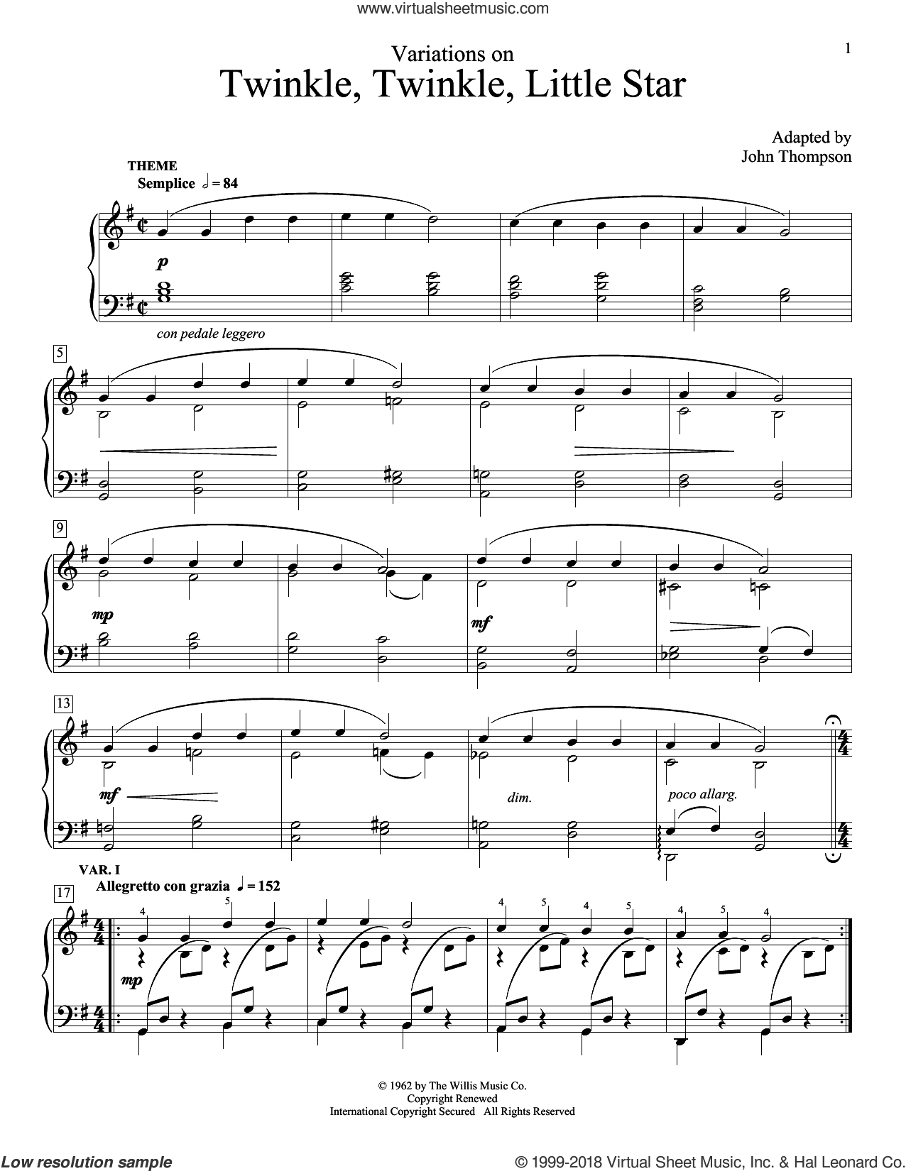 Variations On Twinkle, Twinkle, Little Star sheet music for piano solo (elementary) by John Thompson, beginner piano (elementary). Score Image Preview.
