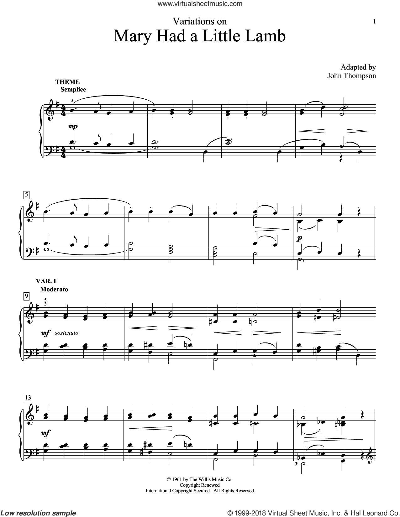 Variations On Mary Had A Little Lamb sheet music for piano solo (elementary) by John Thompson, beginner piano (elementary). Score Image Preview.