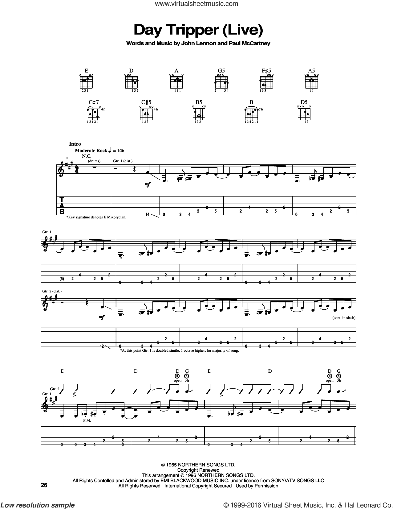 Day Tripper sheet music for guitar (tablature) by Jimi Hendrix, The Beatles, John Lennon and Paul McCartney, intermediate