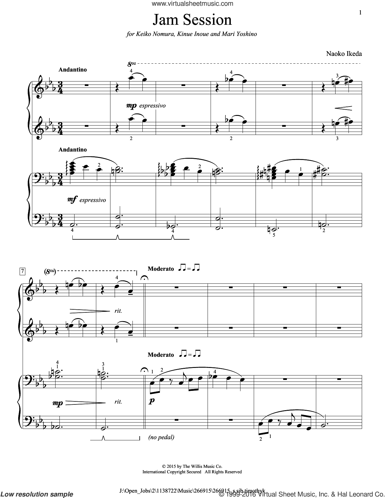 Jam Session sheet music for piano four hands by Naoko Ikeda, intermediate skill level