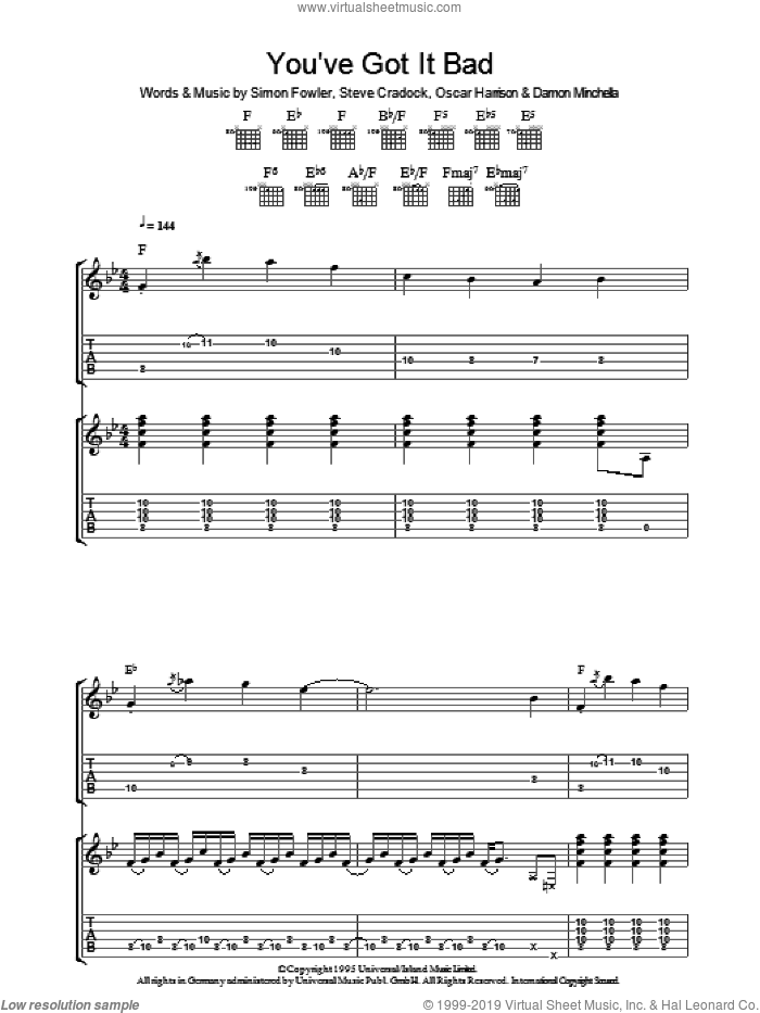 You've Got It Bad sheet music for guitar (tablature) by Ocean Colour Scene, Damon Minchella, Oscar Harrison, Simon Fowler and Steve Cradock, intermediate skill level