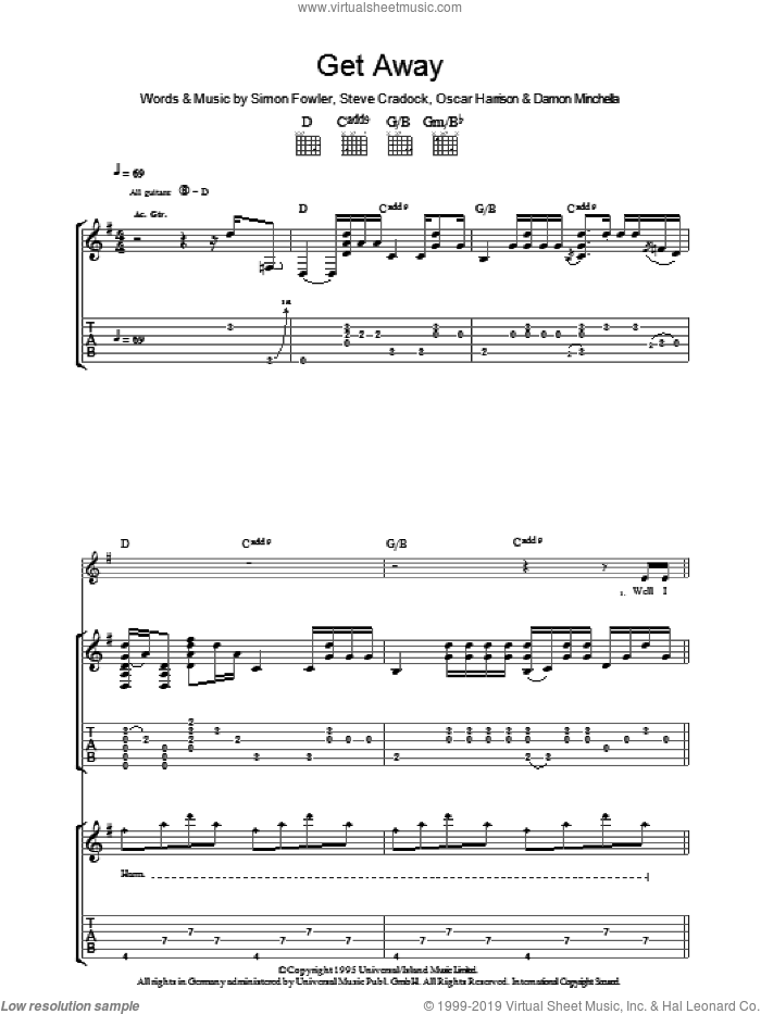 Get Away sheet music for guitar (tablature) by Ocean Colour Scene, Damon Minchella, Oscar Harrison, Simon Fowler and Steve Cradock, intermediate skill level