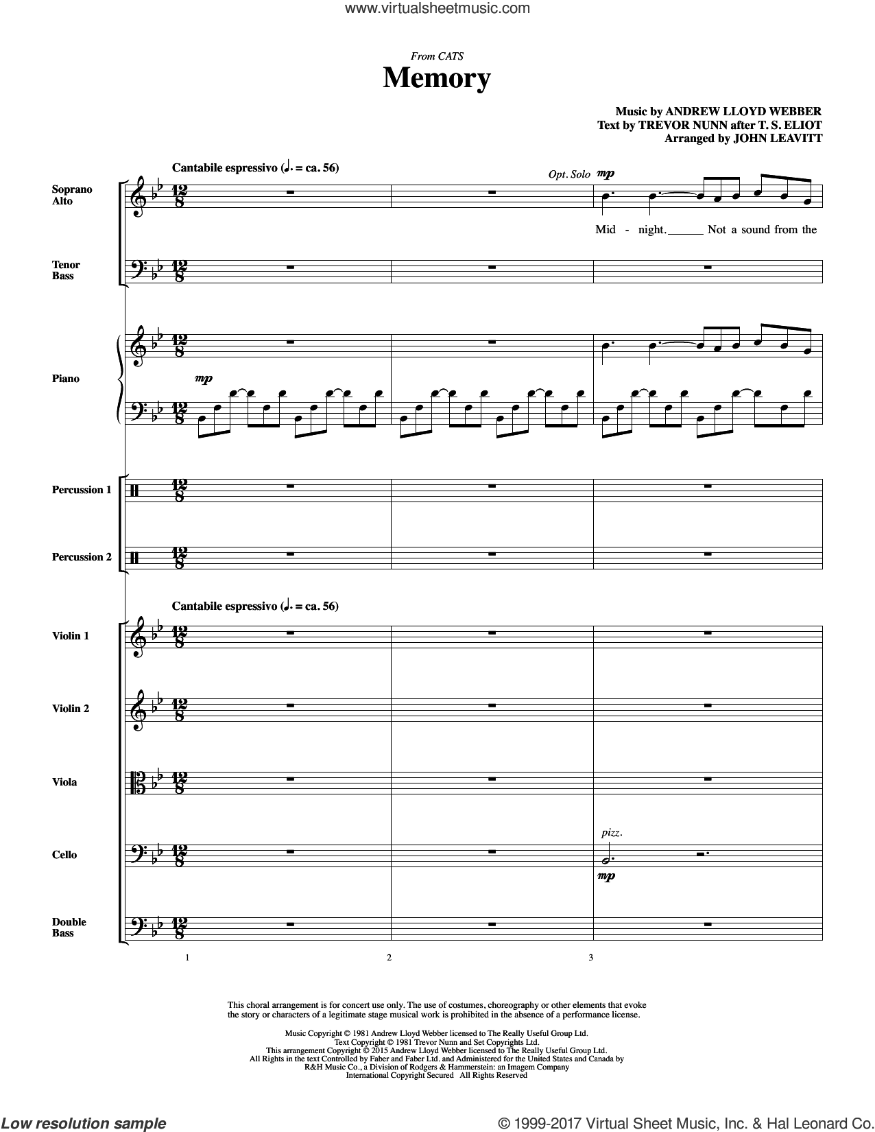 Memory (from Cats) (arr. John Leavitt) (COMPLETE) sheet music for orchestra/band by Andrew Lloyd Webber, Barbra Streisand, John Leavitt and Trevor Nunn, wedding score, intermediate skill level