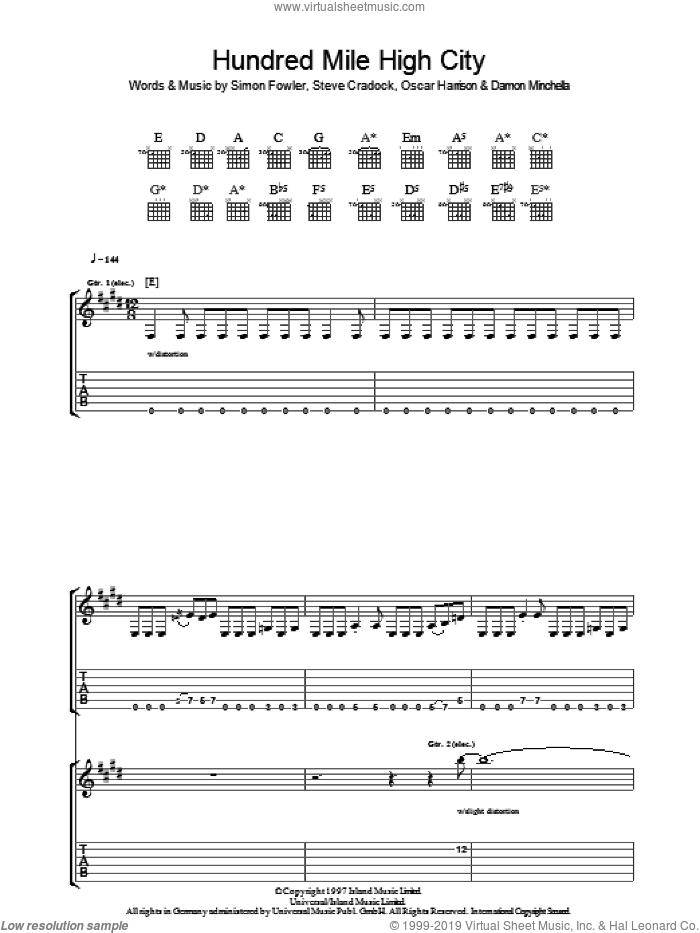 Hundred Mile High City sheet music for guitar (tablature) by Steve Cradock