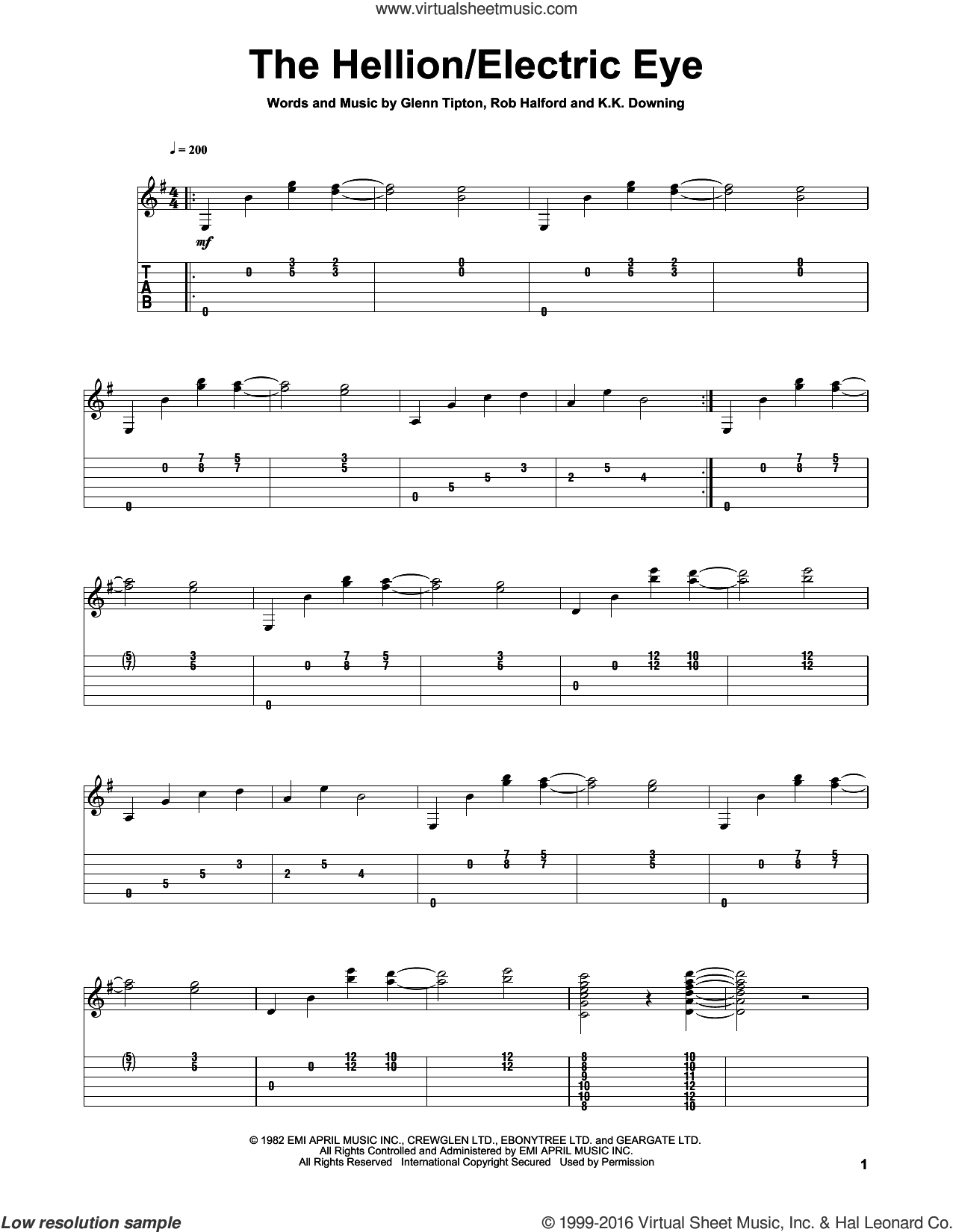 Electric Eye sheet music for guitar solo by Judas Priest, intermediate guitar. Score Image Preview.