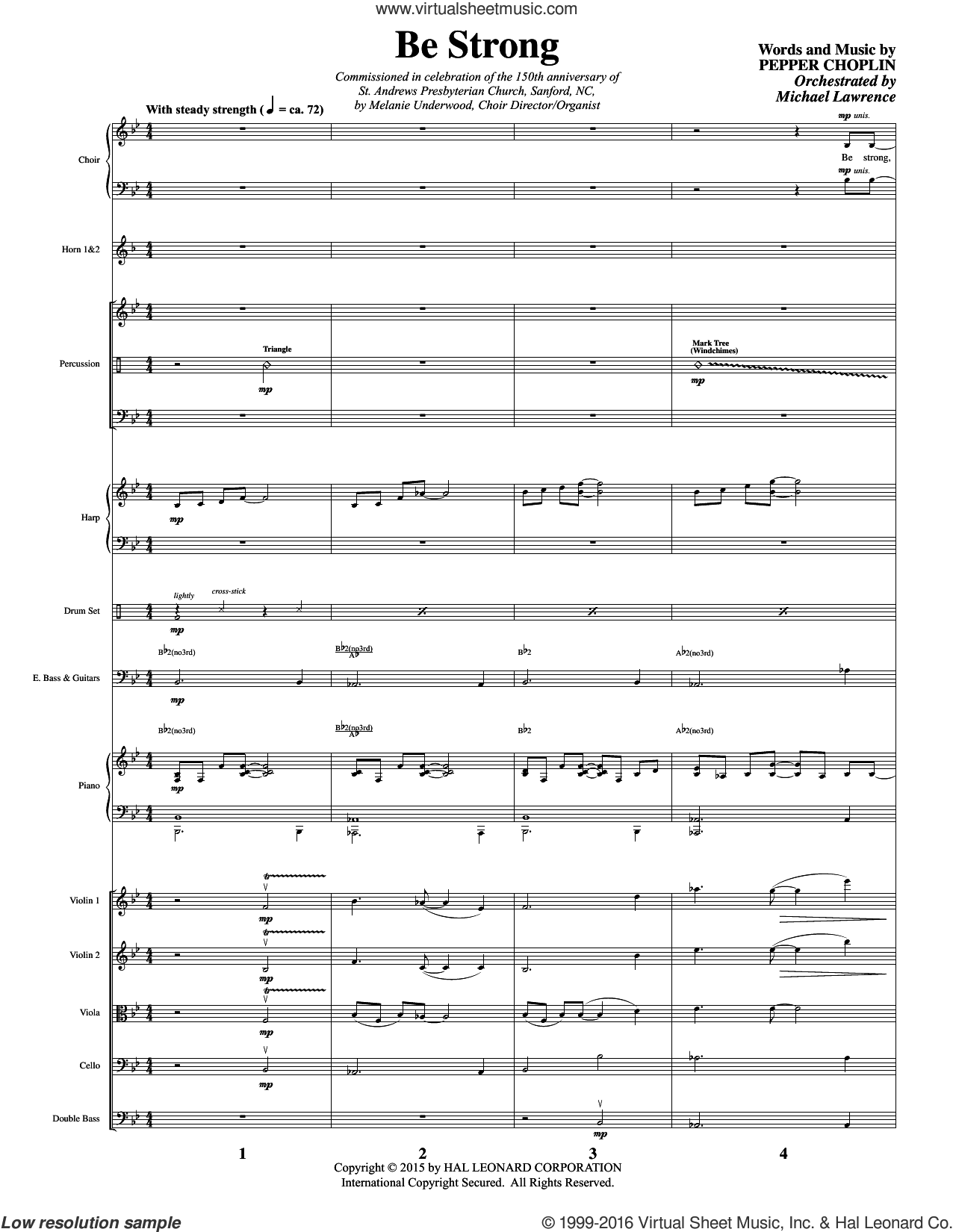 Be Strong (COMPLETE) sheet music for orchestra by Pepper Choplin, intermediate. Score Image Preview.