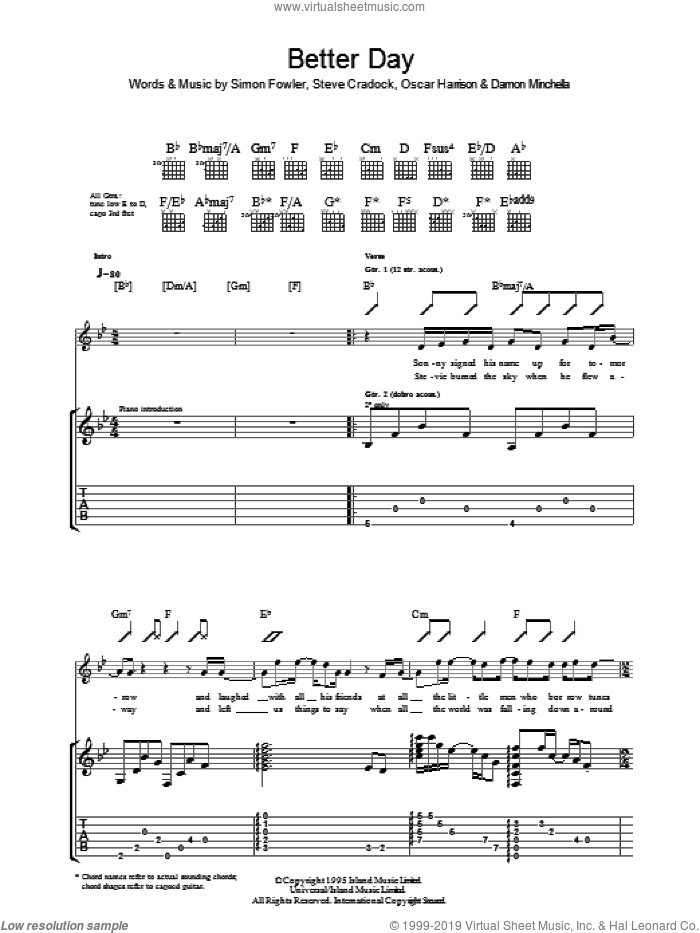 A Better Day sheet music for guitar (tablature) by Steve Cradock, Ocean Colour Scene and Oscar Harrison. Score Image Preview.