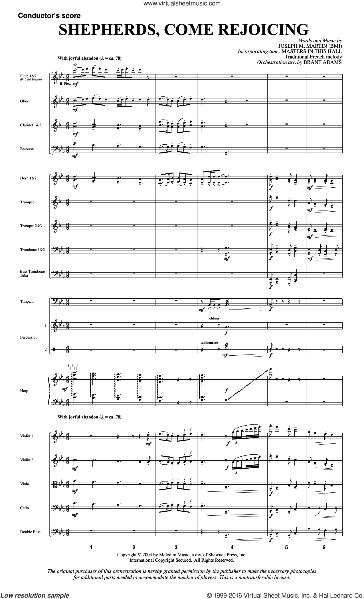 Shepherds, Come Rejoicing (from Voices Of Christmas) sheet music for orchestra/band (full score) by Joseph M. Martin, Christmas carol score, intermediate orchestra/band (full score). Score Image Preview.