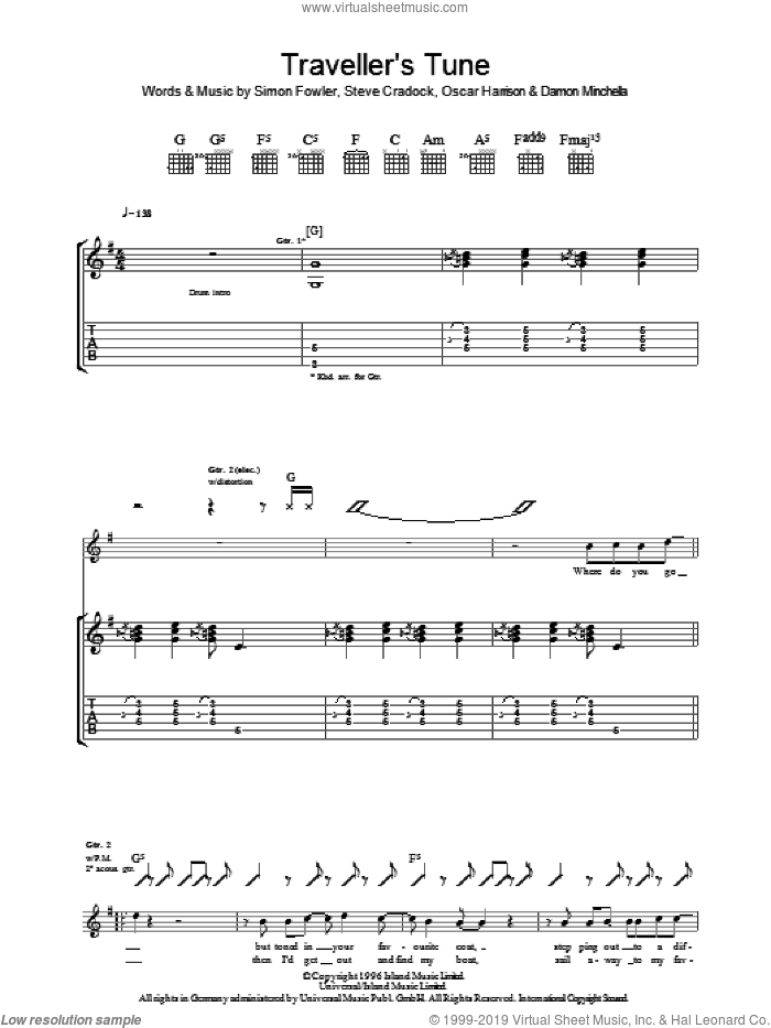 Traveller's Tune sheet music for guitar (tablature) by Steve Cradock, Ocean Colour Scene and Oscar Harrison. Score Image Preview.