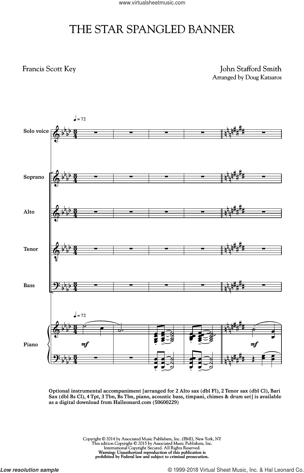 The Star Spangled Banner sheet music for choir and piano (SATB) by Francis Scott Key, Doug Katsaros and John Stafford Smith. Score Image Preview.