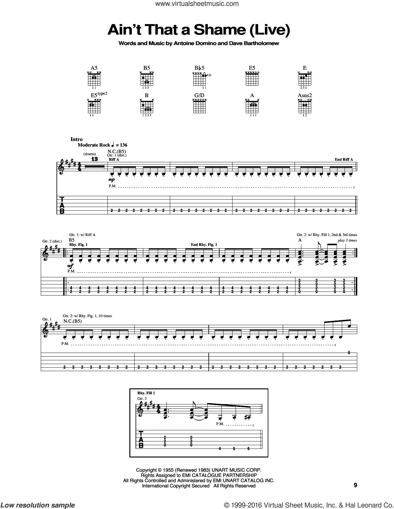 Ain't That A Shame sheet music for guitar (tablature) by Dave Bartholomew