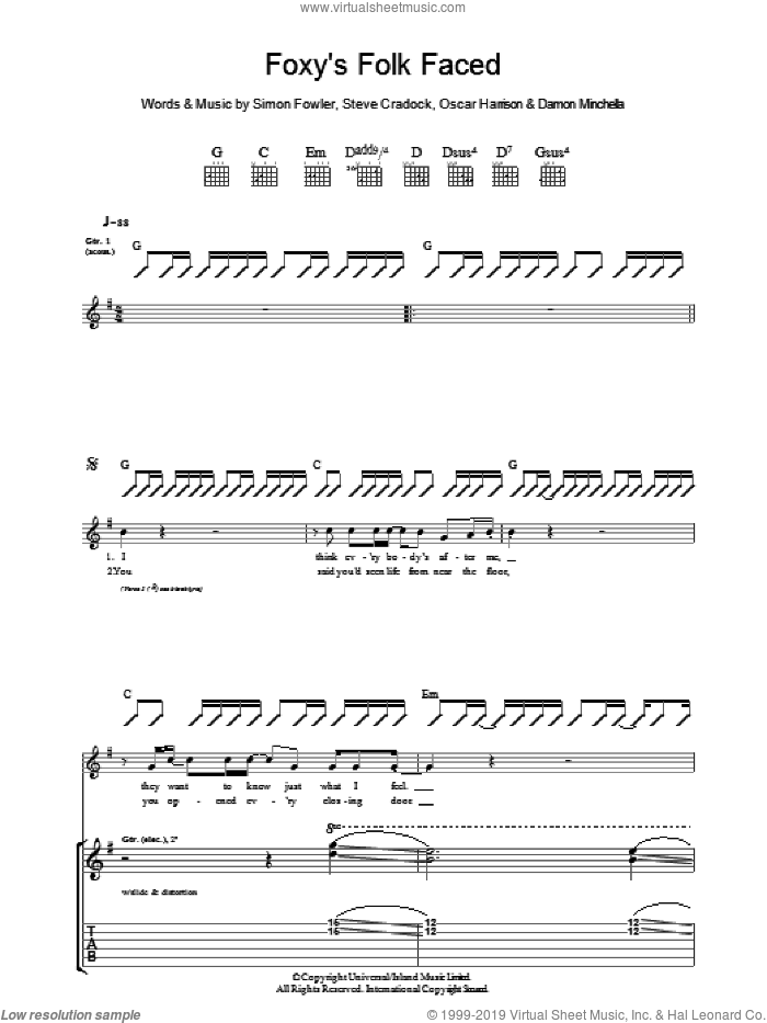 Foxy's Folk Faced sheet music for guitar (tablature) by Ocean Colour Scene. Score Image Preview.