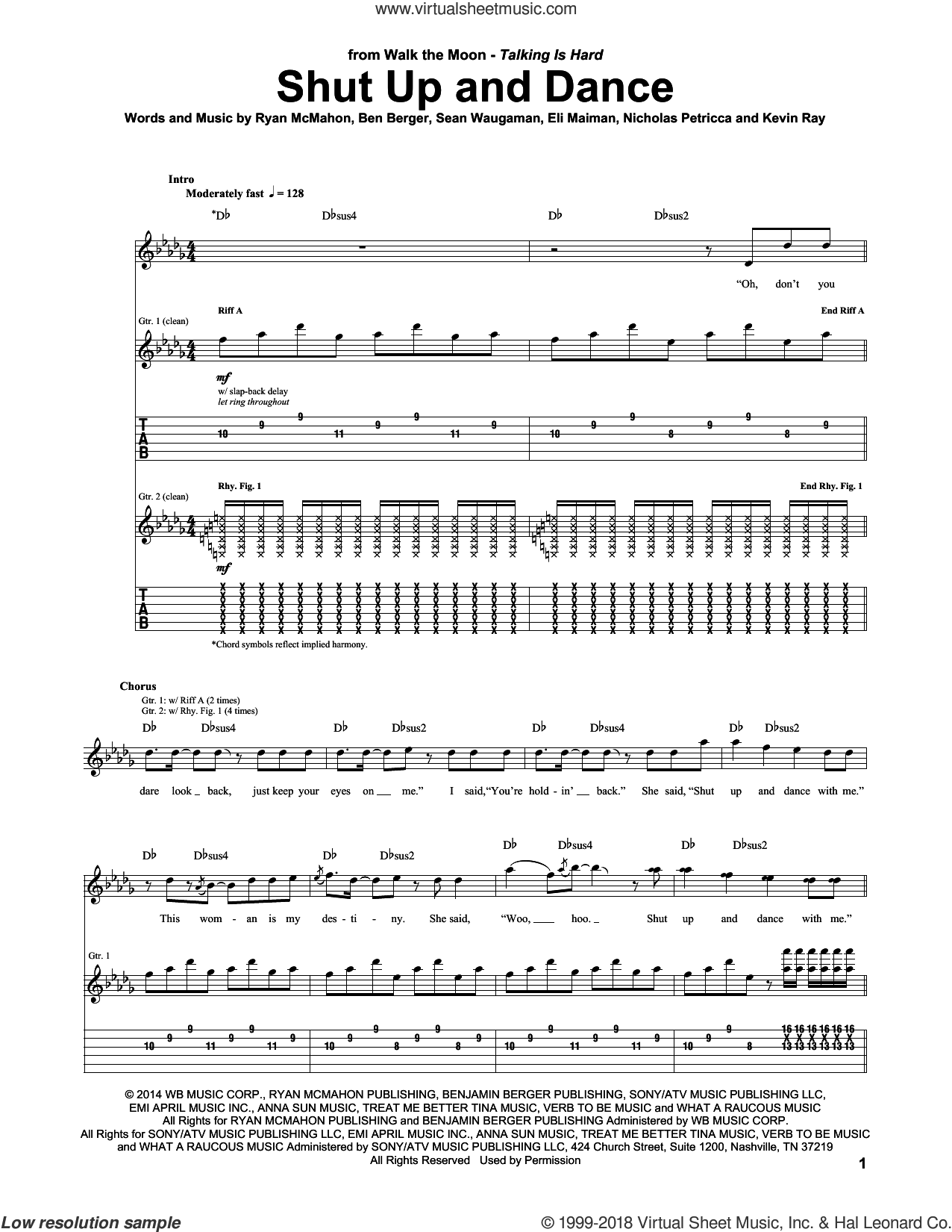 Shut Up And Dance sheet music for guitar (tablature) by Walk The Moon, Ben Berger, Eli Maiman, Kevin Ray, Nicholas Petricca, Ryan McMahon and Sean Waugaman, intermediate skill level