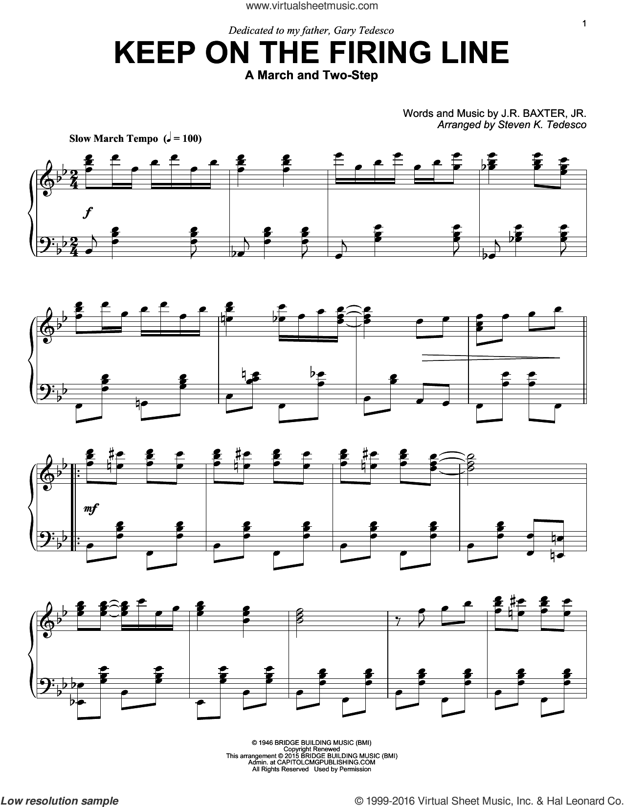 Keep On The Firing Line sheet music for piano solo by Steven K. Tedesco and J.R. Baxter Jr., intermediate