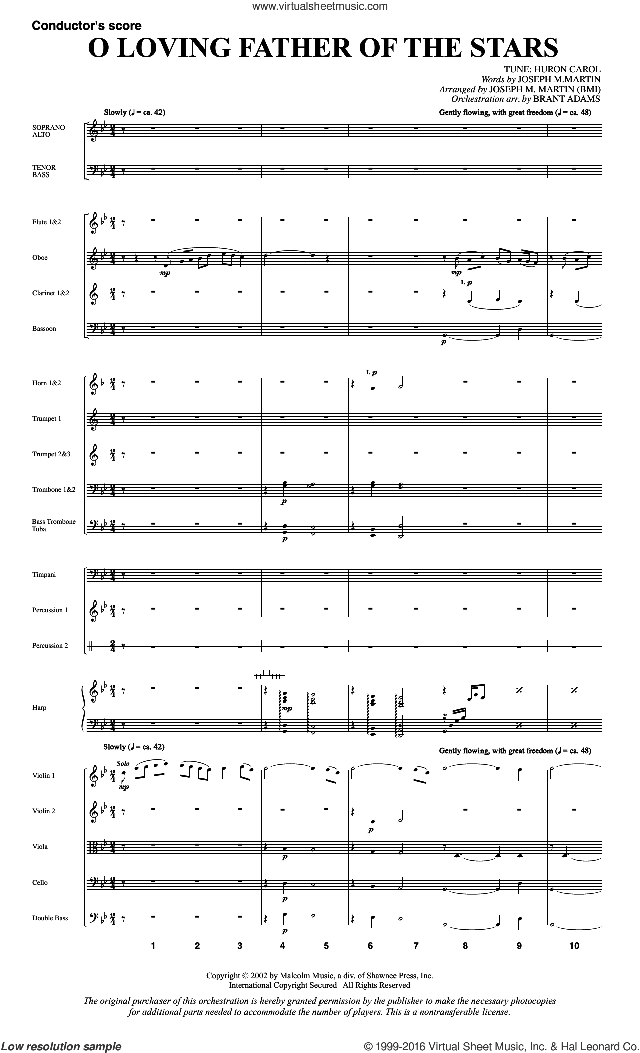O Loving Father Of The Stars (from Morning Star) sheet music for orchestra/band (full score) by Joseph M. Martin, intermediate. Score Image Preview.