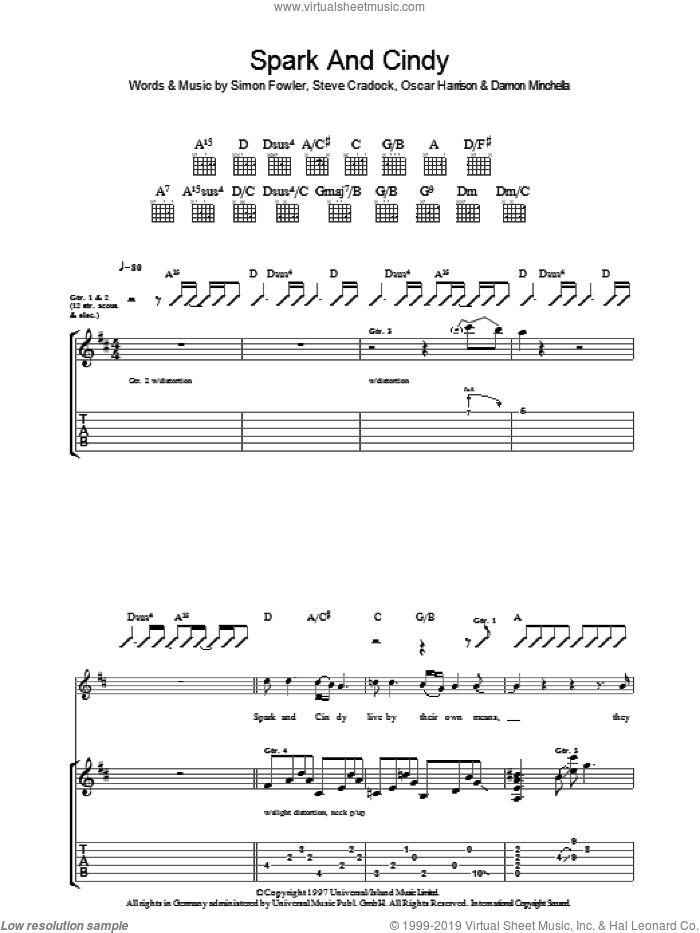 Spark And Cindy sheet music for guitar (tablature) by Steve Cradock, Ocean Colour Scene and Oscar Harrison. Score Image Preview.