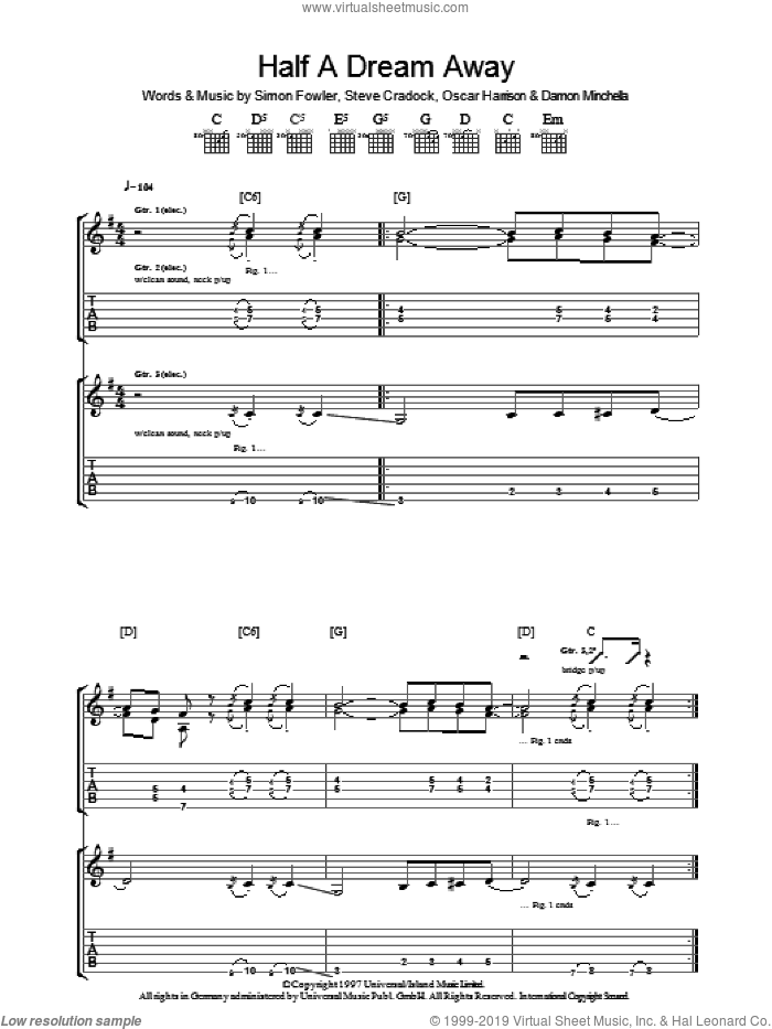 Half A Dream Away sheet music for guitar (tablature) by Steve Cradock