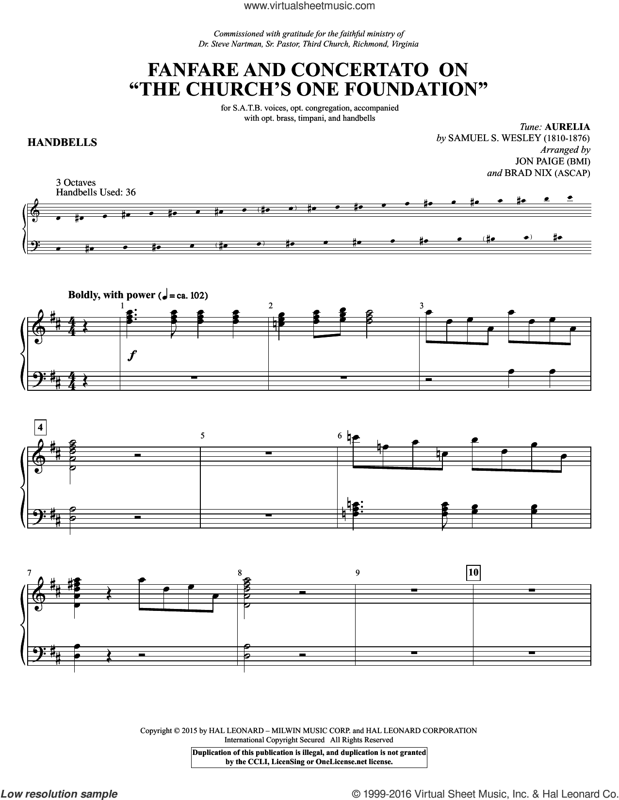 Fanfare and Concertato on 'The Church's One Foundation' sheet music for orchestra/band (handbells) by Samuel Sebastian Wesley, Brad Nix, Jon Paige, Samuel J. Stone, Samuel S. Wesley and Samuel John Stone, classical wedding score, intermediate skill level