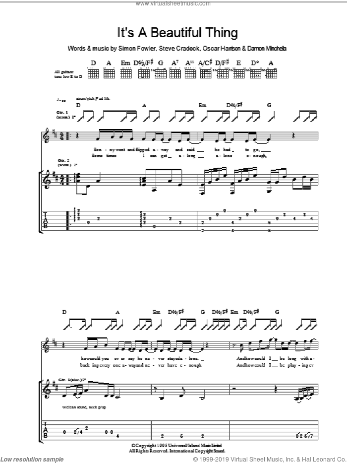 It's A Beautiful Thing sheet music for guitar (tablature) by Steve Cradock, Ocean Colour Scene and Oscar Harrison. Score Image Preview.