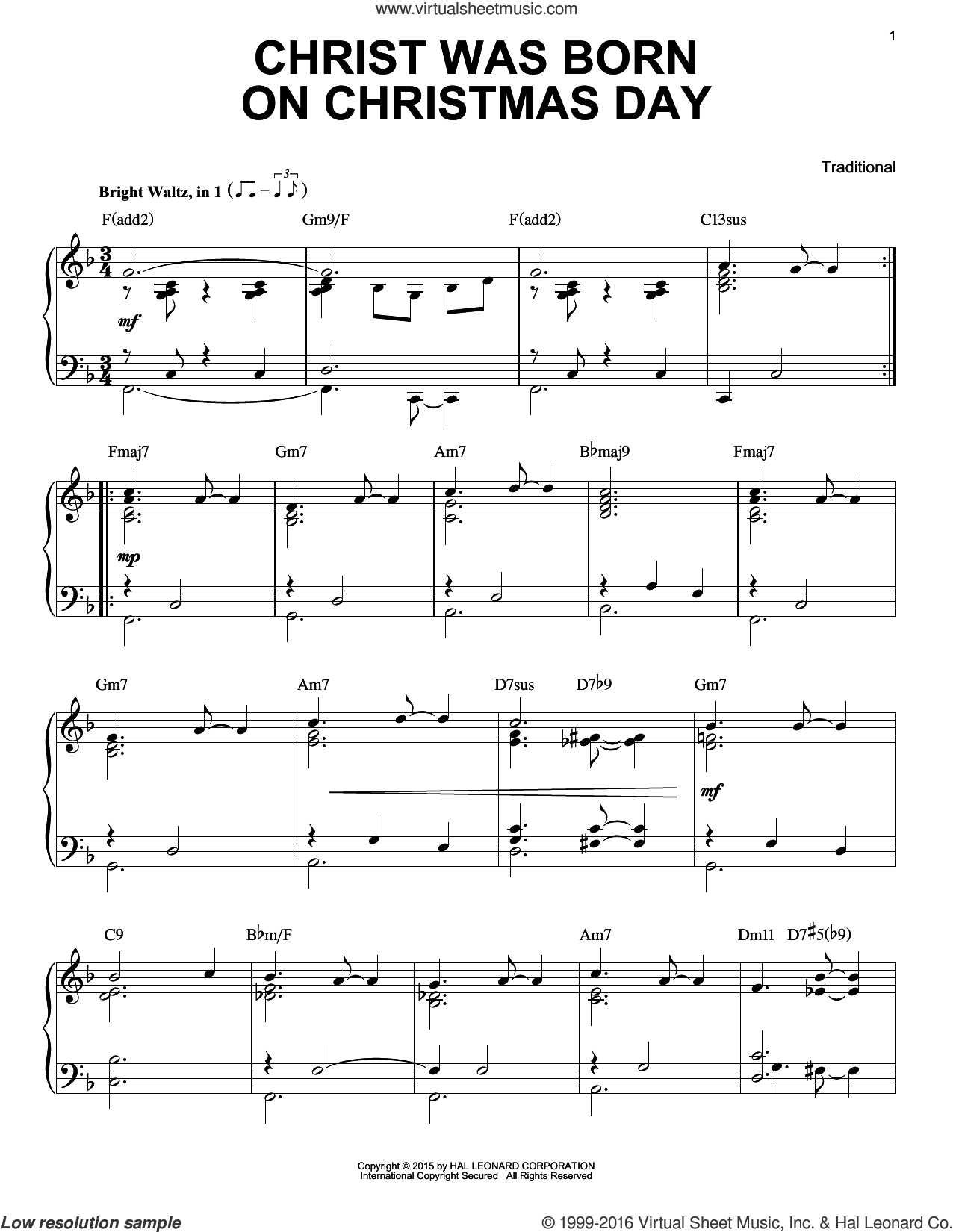 Christ Was Born On Christmas Day sheet music for piano solo, Christmas carol score, intermediate piano. Score Image Preview.