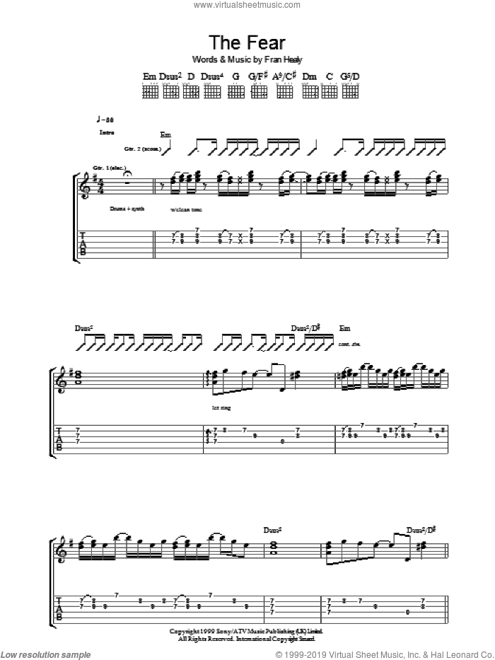 The Fear sheet music for guitar (tablature) by Merle Travis and Fran Healy, intermediate skill level