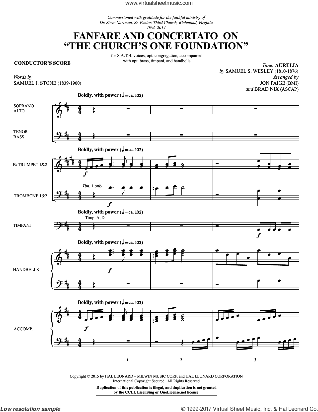 Fanfare and Concertato on 'The Church's One Foundation' (COMPLETE) sheet music for orchestra/band by Brad Nix, Jon Paige, Samuel J. Stone, Samuel John Stone, Samuel S. Wesley and Samuel Sebastian Wesley, intermediate