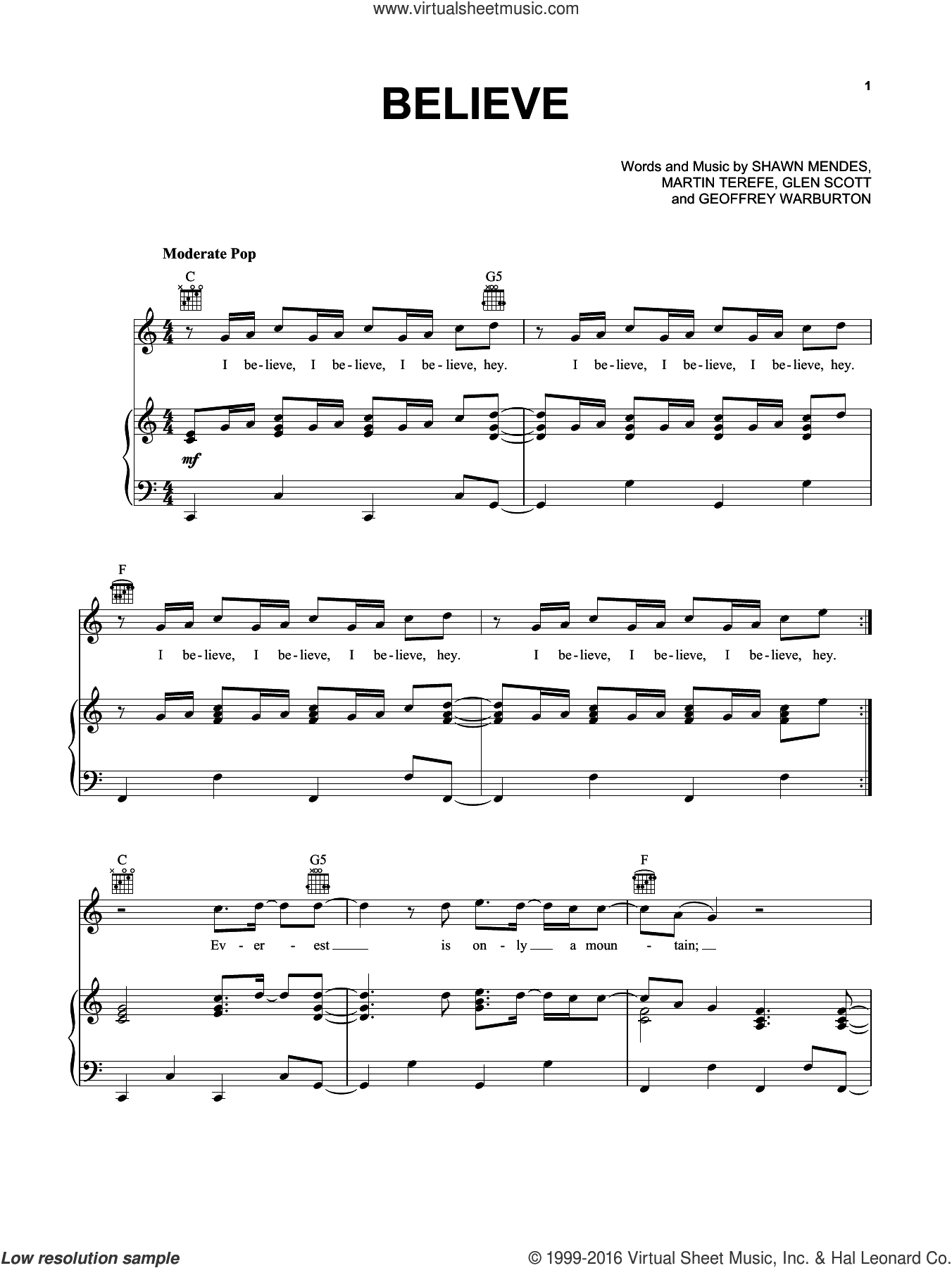 Believe sheet music for voice, piano or guitar by Shawn Mendes, Geoffrey Warburton, Glen Scott and Martin Terefe, intermediate skill level