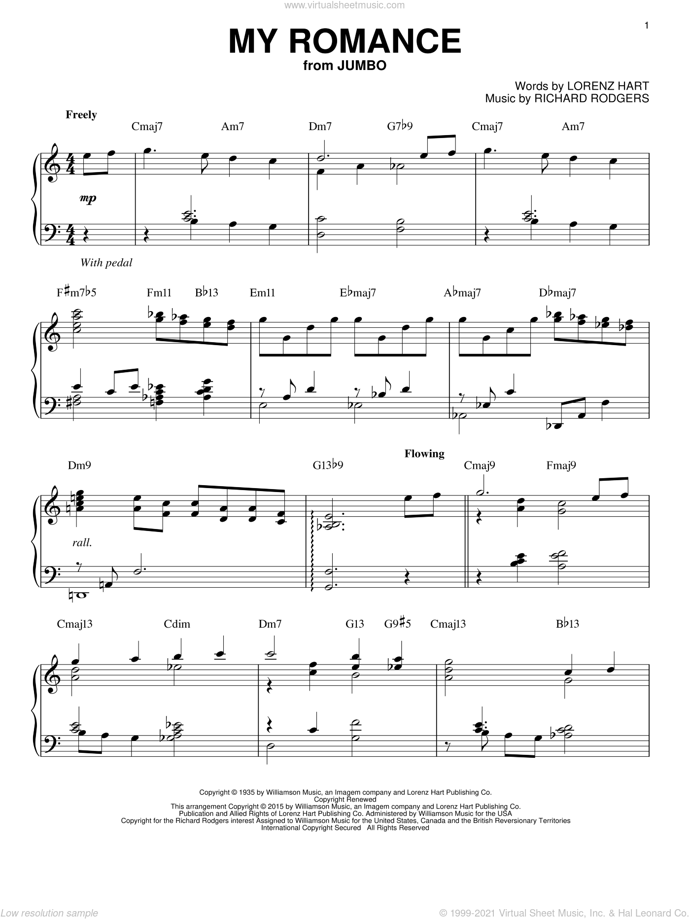 My Romance sheet music for piano solo by Rodgers & Hart, Lorenz Hart and Richard Rodgers, intermediate skill level