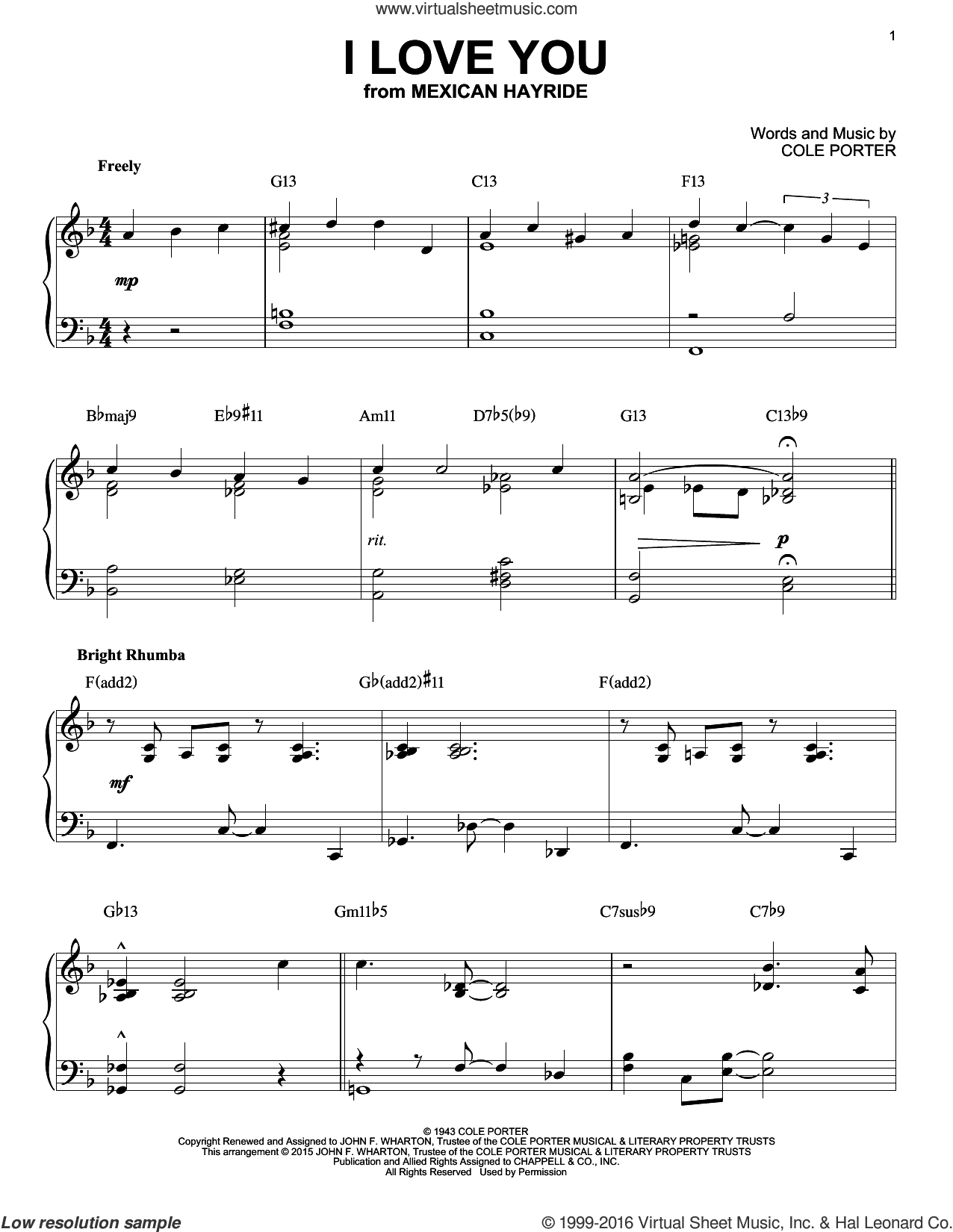 I Love You sheet music for piano solo by Cole Porter, intermediate