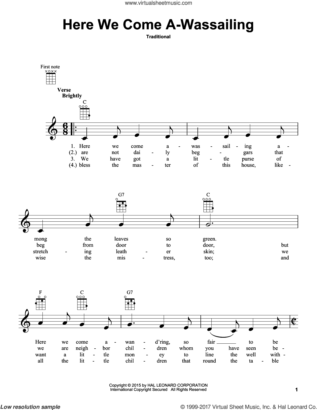 Here We Come A-Wassailing sheet music for ukulele, intermediate skill level