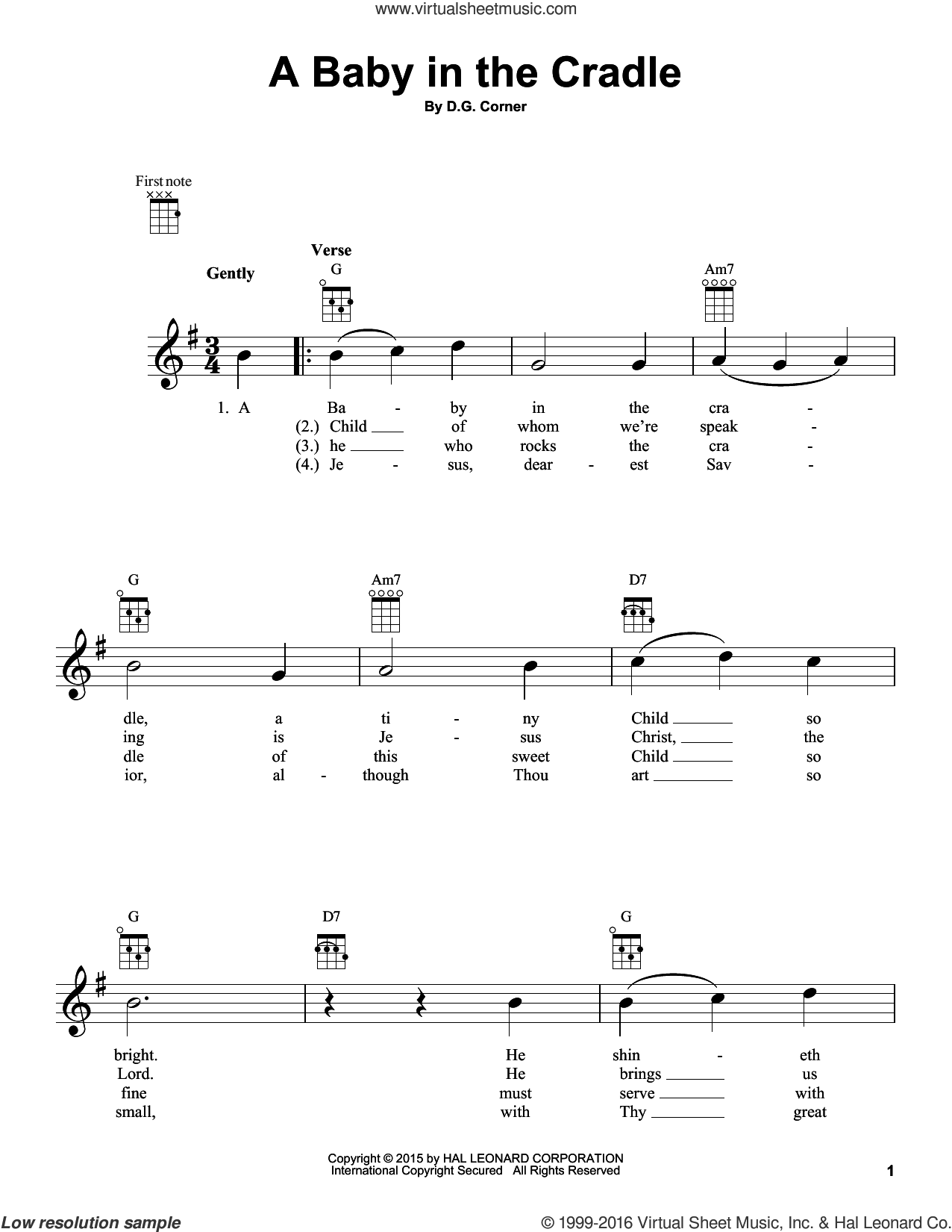 A Baby In The Cradle sheet music for ukulele by D.G. Corner, intermediate skill level