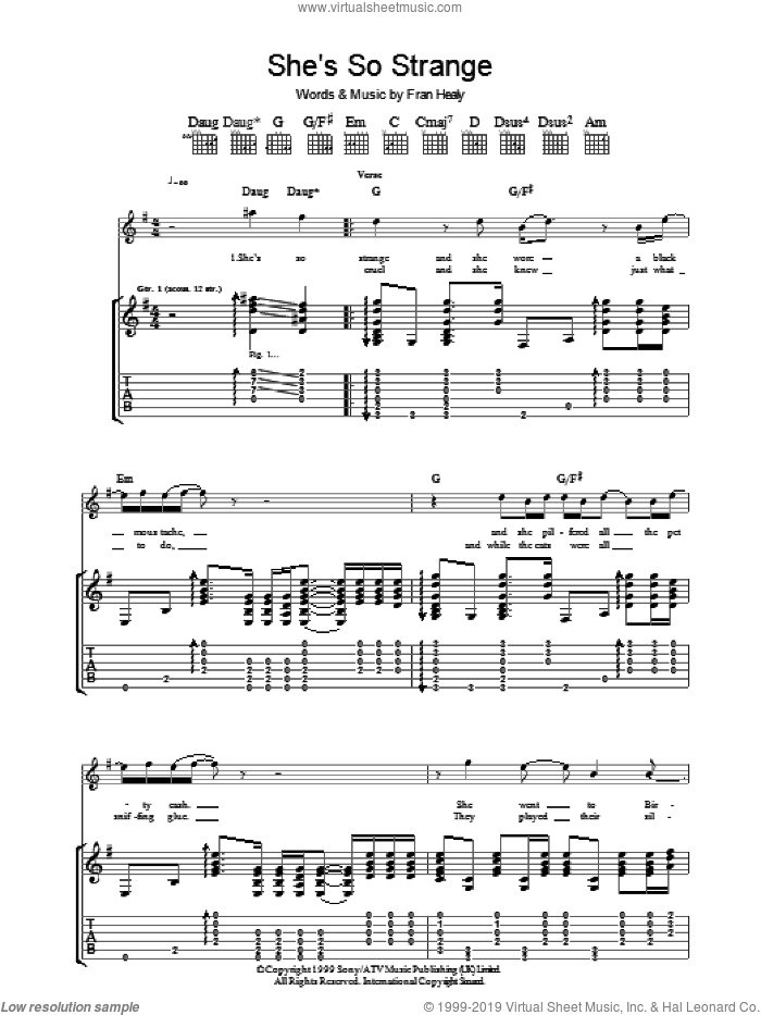She's So Strange sheet music for guitar (tablature) by Fran Healy and Merle Travis. Score Image Preview.