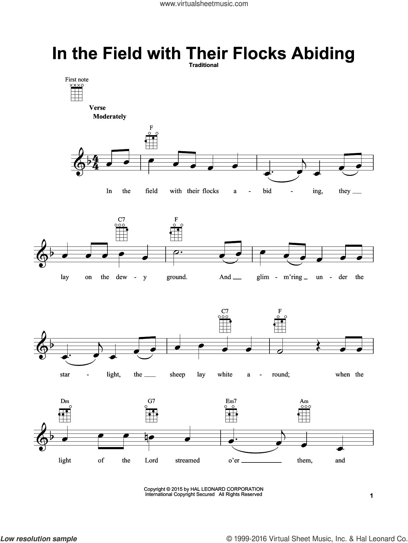 In The Field With Their Flocks Abiding sheet music for ukulele, Christmas carol score, intermediate ukulele. Score Image Preview.