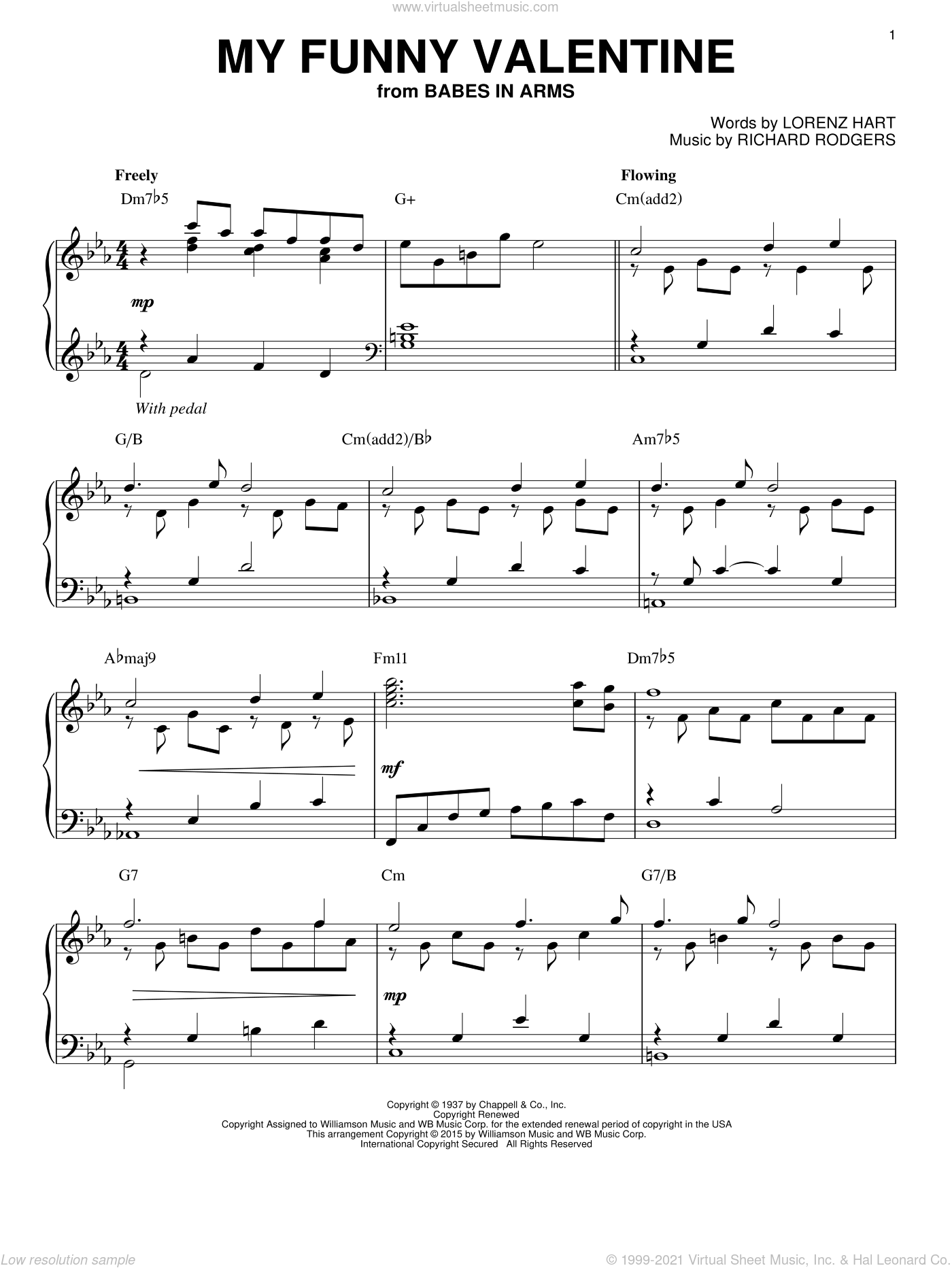My Funny Valentine [Jazz version] (arr. Brent Edstrom) sheet music for piano solo by Rodgers & Hart, Lorenz Hart and Richard Rodgers, intermediate skill level