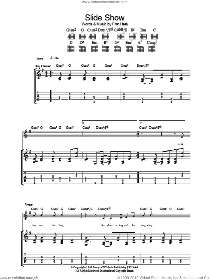 Slide Show sheet music for guitar (tablature) by Merle Travis, intermediate guitar (tablature). Score Image Preview.
