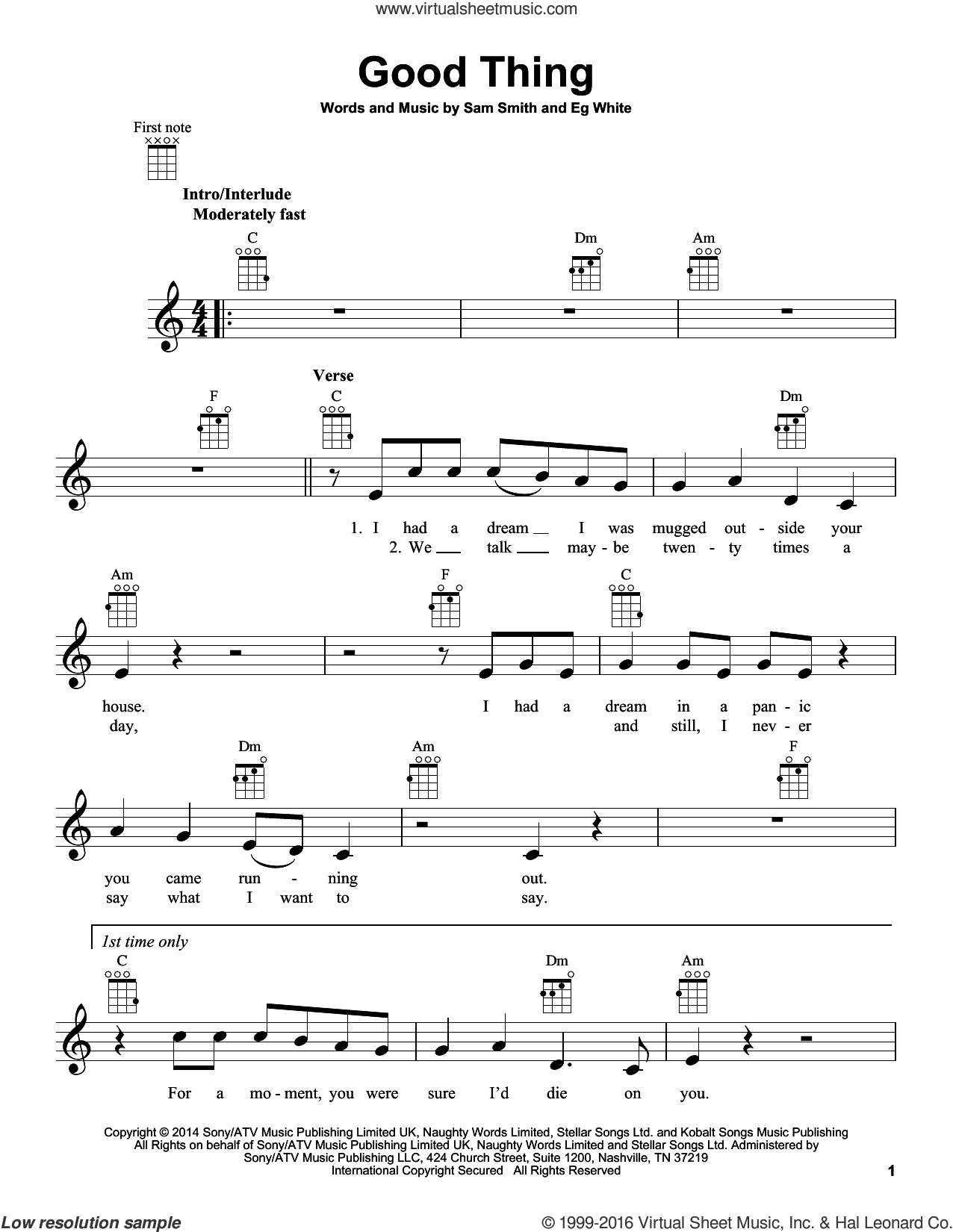 Good Thing sheet music for ukulele by Sam Smith, intermediate ukulele. Score Image Preview.
