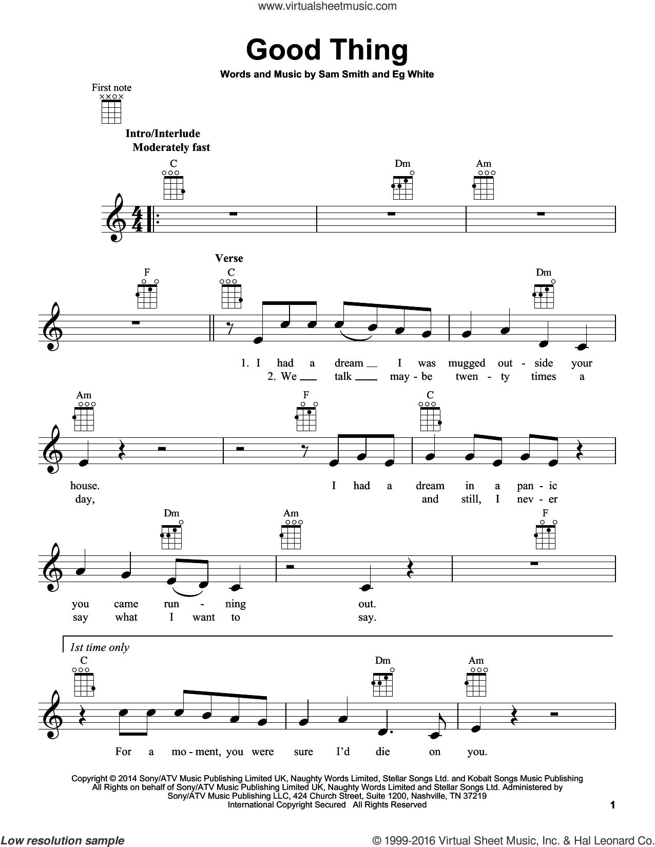 Good Thing sheet music for ukulele by Sam Smith and Eg White, intermediate skill level