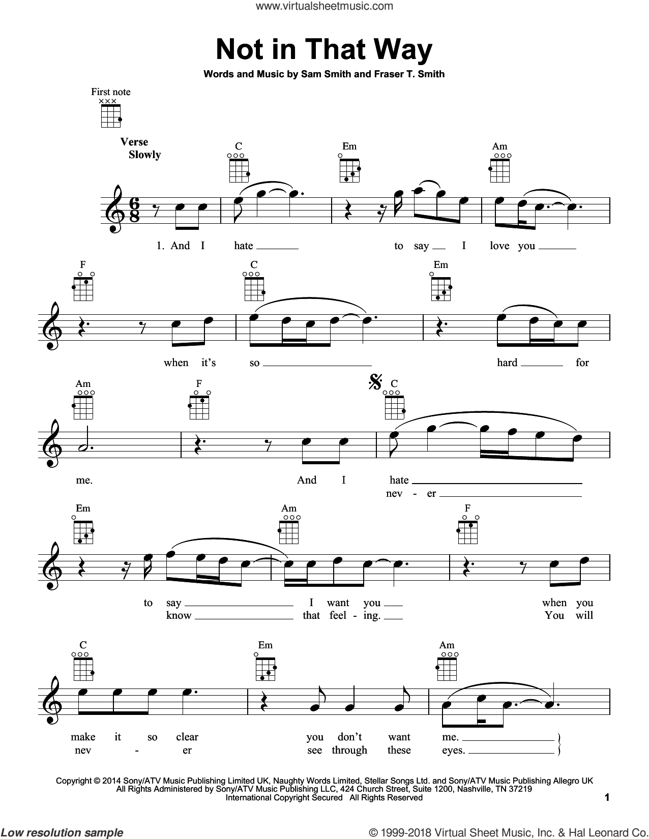 Not In That Way sheet music for ukulele by Sam Smith and Fraser T. Smith, intermediate skill level