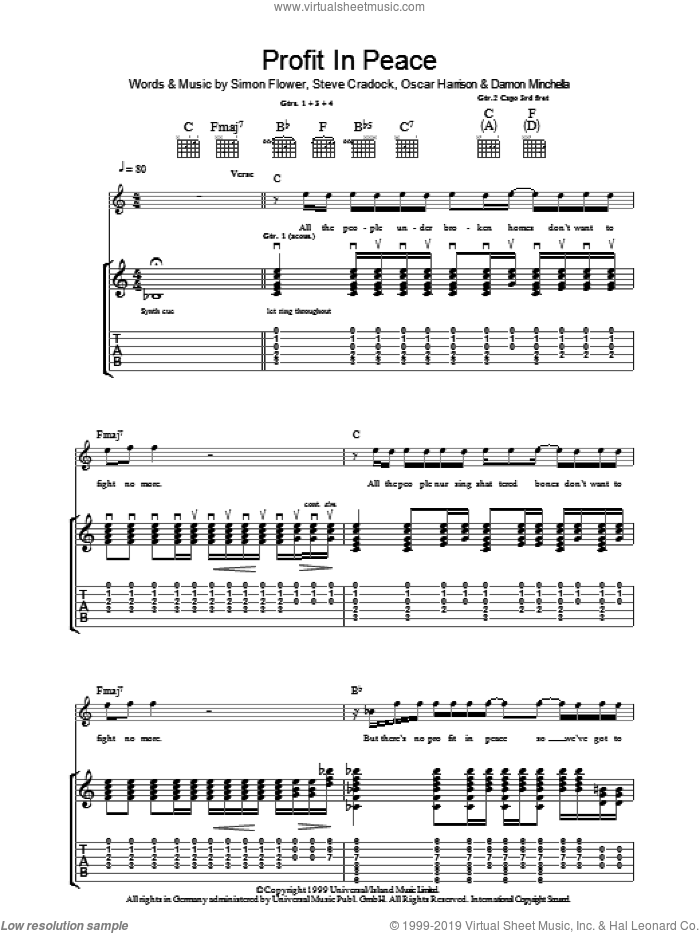 Profit In Peace sheet music for guitar (tablature) by Steve Cradock, Ocean Colour Scene and Oscar Harrison. Score Image Preview.