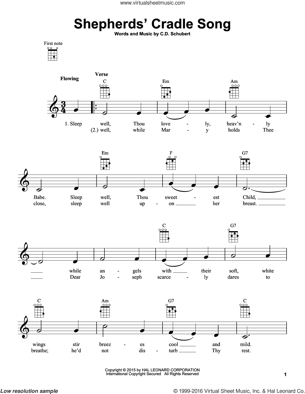 Shepherds' Cradle Song sheet music for ukulele by C.D. Schubert, intermediate. Score Image Preview.