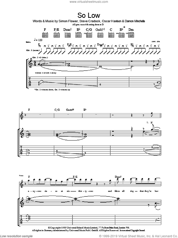 So Low sheet music for guitar (tablature) by Steve Cradock