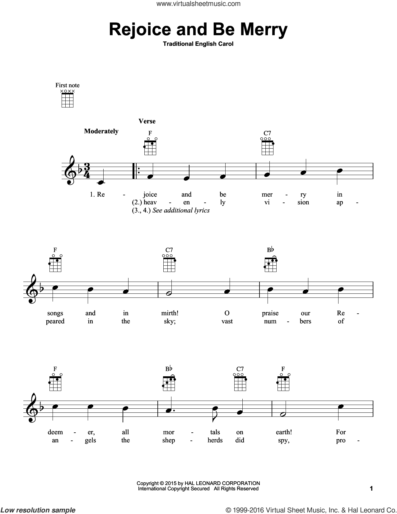 Rejoice And Be Merry sheet music for ukulele. Score Image Preview.