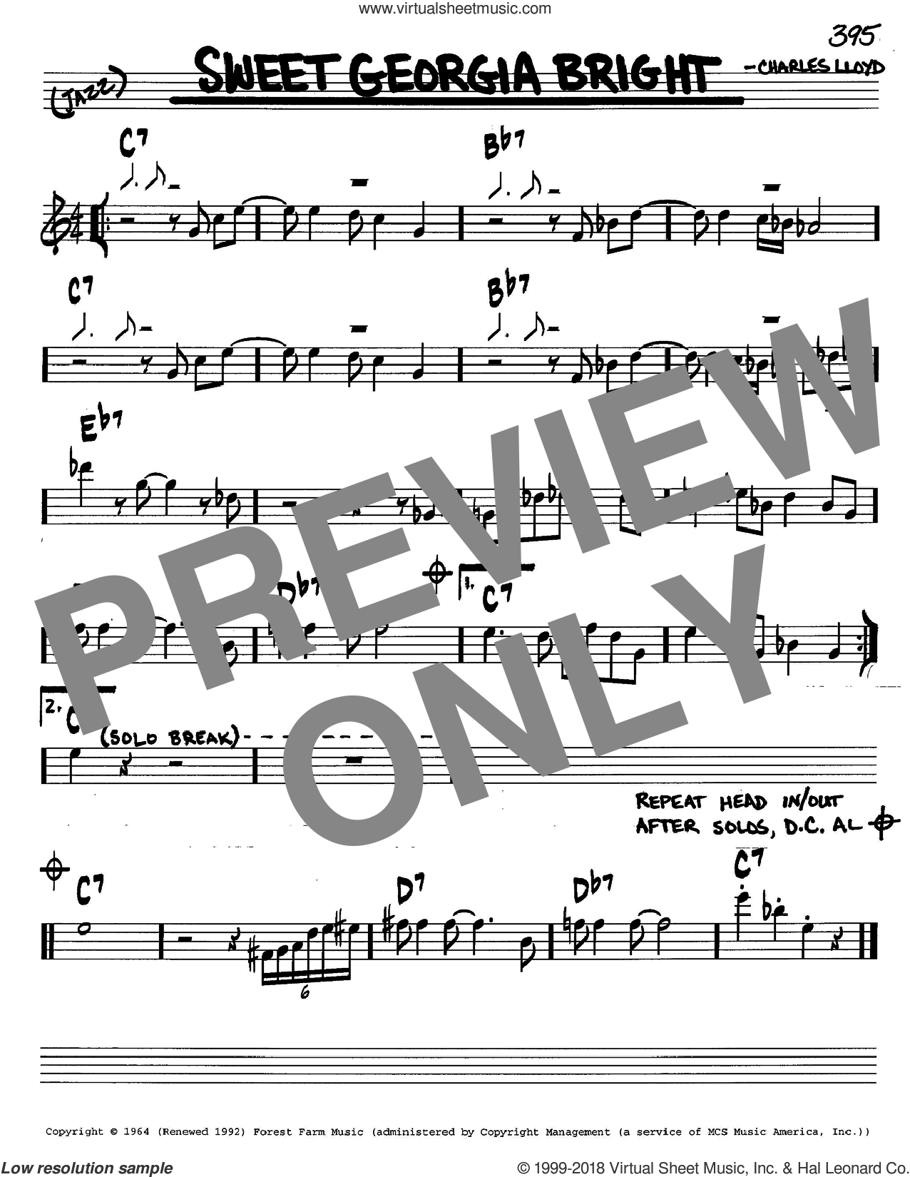 Sweet Georgia Bright sheet music for voice and other instruments (in C) by Charles Lloyd, intermediate skill level