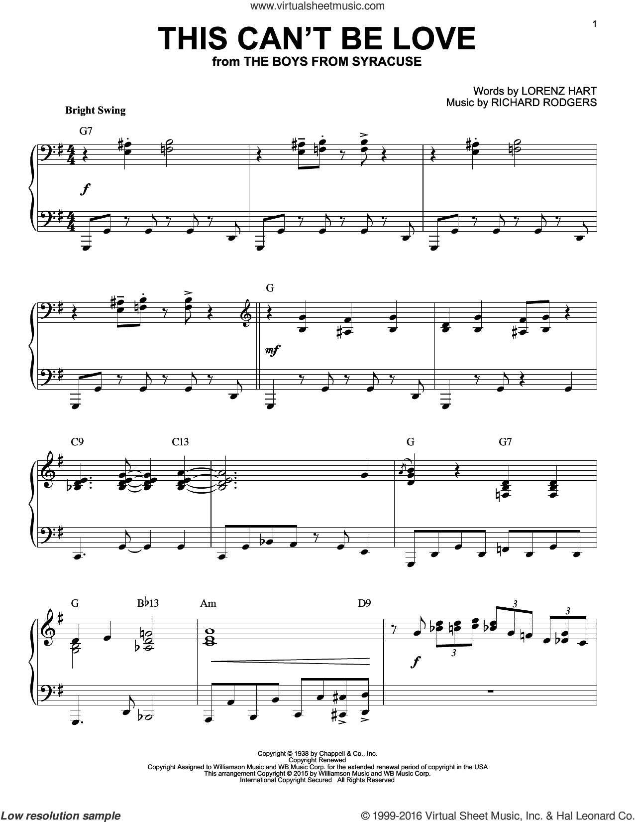 This Can't Be Love sheet music for piano solo by Rodgers & Hart, Lorenz Hart and Richard Rodgers, intermediate skill level