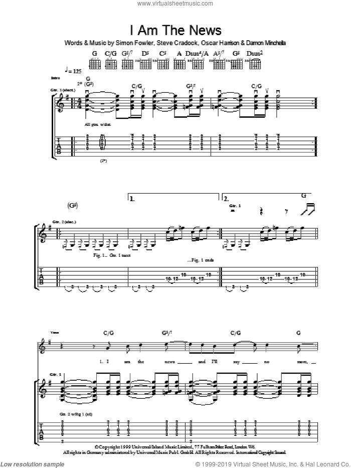 I Am The News sheet music for guitar (tablature) by Steve Cradock, Ocean Colour Scene and Oscar Harrison. Score Image Preview.