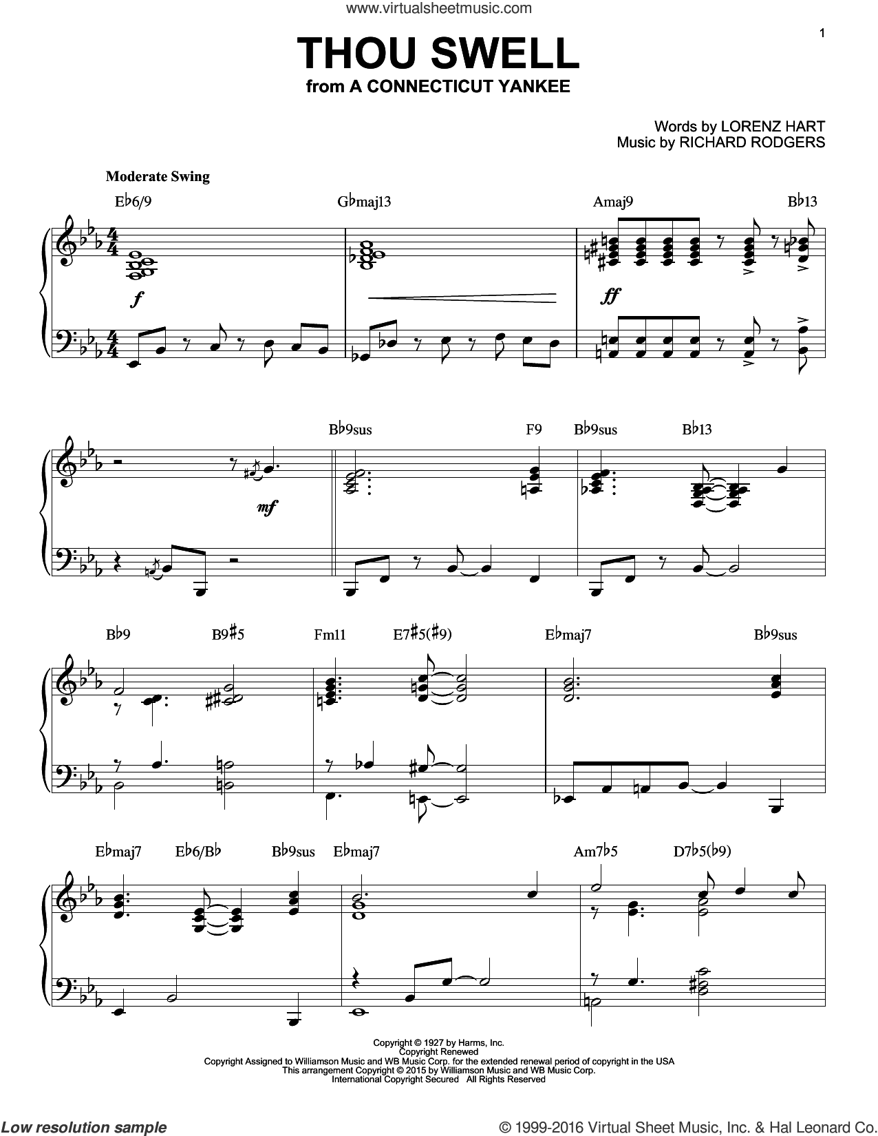 Thou Swell sheet music for piano solo by Rodgers & Hart, Lorenz Hart and Richard Rodgers, intermediate skill level