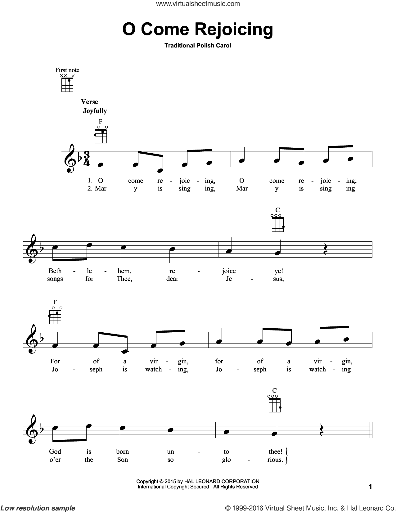 O Come Rejoicing sheet music for ukulele. Score Image Preview.